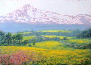 風景画 春の高原